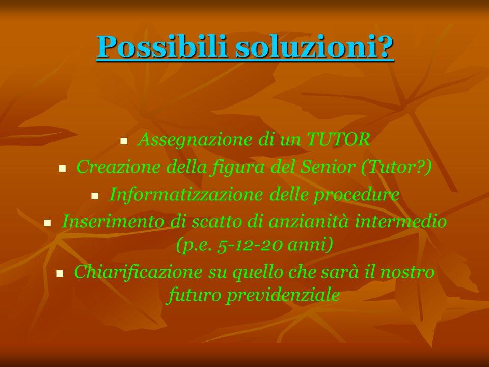 Possibili soluzioni? Assegnazione di un TUTOR Creazione della figura del Senior (Tutor?) Informatizzazione delle procedure Inserimento di scatto di an