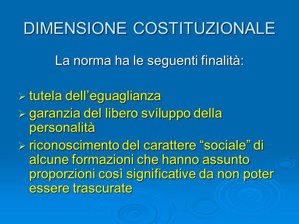 DIMENSIONE COSTITUZIONALE La norma ha le seguenti finalità: tutela delleguaglianza tutela delleguaglianza garanzia del libero sviluppo della personali