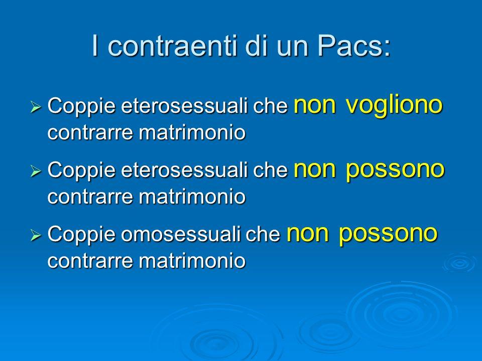 I contraenti di un Pacs: Coppie eterosessuali che non vogliono contrarre matrimonio Coppie eterosessuali che non vogliono contrarre matrimonio Coppie