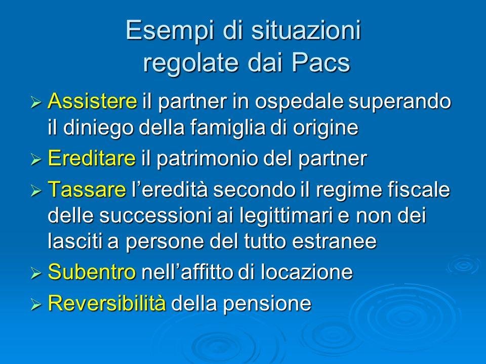 Esempi di situazioni regolate dai Pacs Assistere il partner in ospedale superando il diniego della famiglia di origine Assistere il partner in ospedal