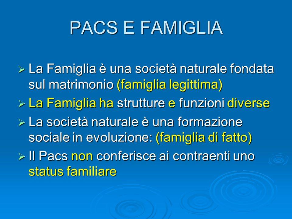 PACS E FAMIGLIA La Famiglia è una società naturale fondata sul matrimonio (famiglia legittima) La Famiglia è una società naturale fondata sul matrimon