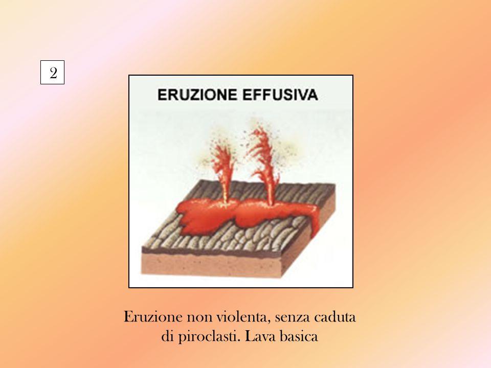 2 Eruzione non violenta, senza caduta di piroclasti. Lava basica