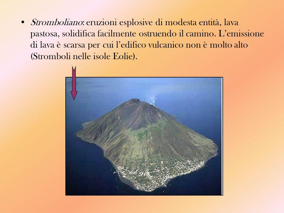 Stromboliano: eruzioni esplosive di modesta entità, lava pastosa, solidifica facilmente ostruendo il camino.