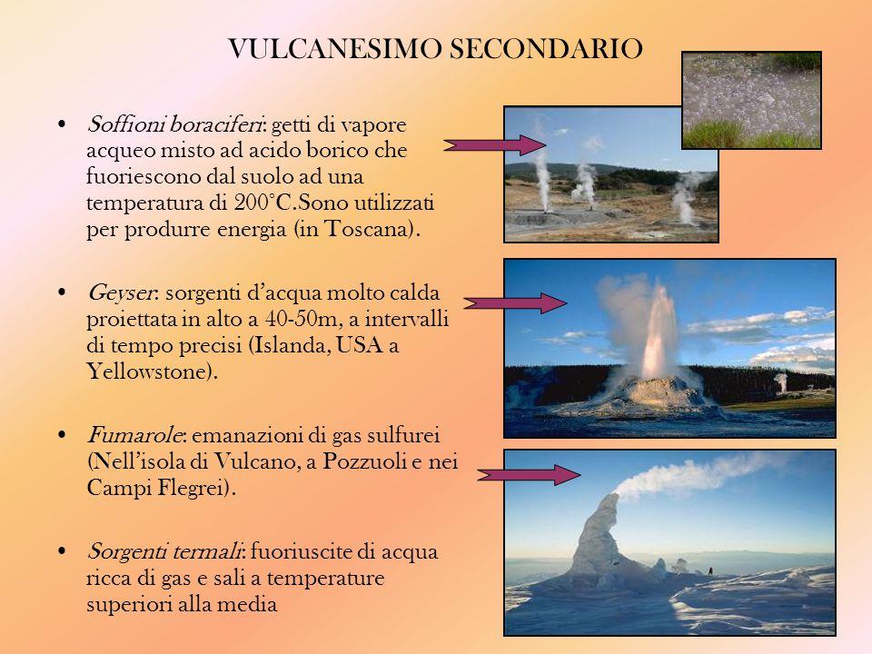VULCANESIMO SECONDARIO Soffioni boraciferi: getti di vapore acqueo misto ad acido borico che fuoriescono dal suolo ad una temperatura di 200°C.Sono utilizzati per produrre energia (in Toscana).