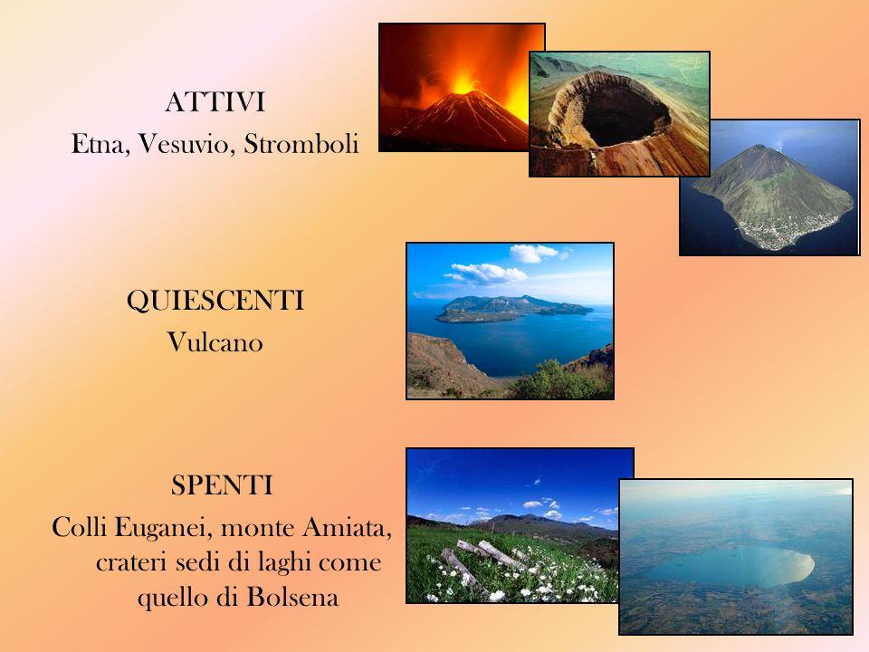 ATTIVI Etna, Vesuvio, Stromboli SPENTI Colli Euganei, monte Amiata, crateri sedi di laghi come quello di Bolsena QUIESCENTI Vulcano