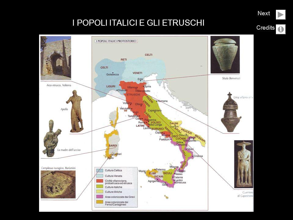 I popoli Italici e gli Etruschi Next Click Images Help Il Guerriero di Capestrano Le necropoli etrusche Le pitture murali: la Tomba del tuffatore Il sarcofago degli Sposi La Chimera dArezzo