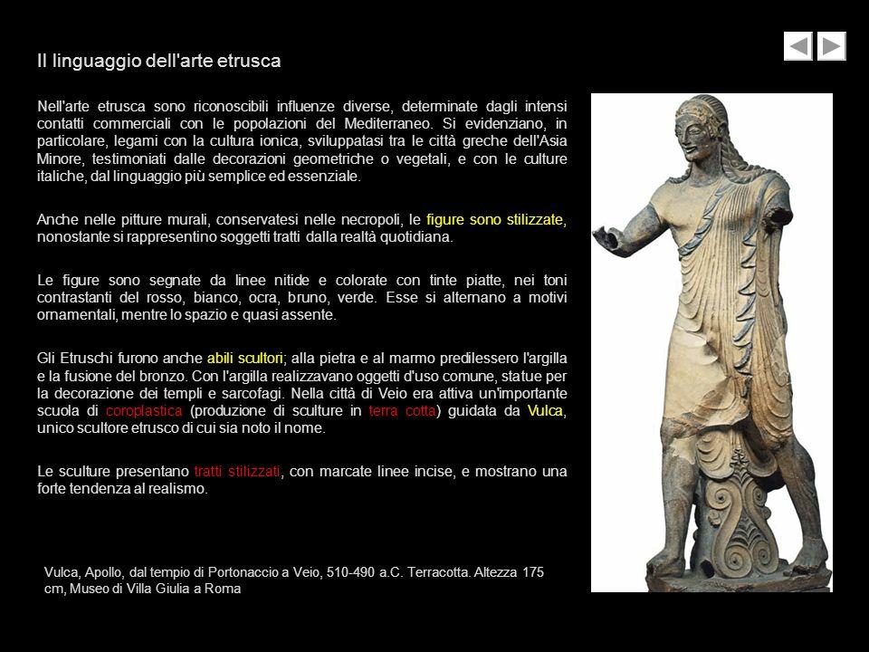 Il linguaggio dell'arte etrusca Nell'arte etrusca sono riconoscibili influenze diverse, determinate dagli intensi contatti commerciali con le popolazi