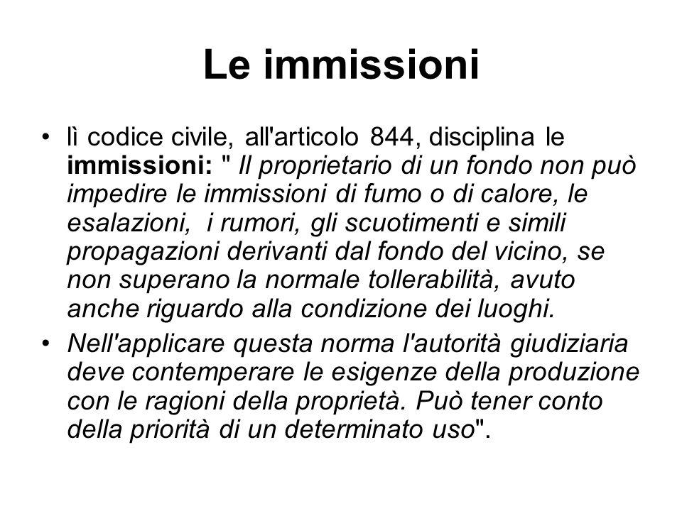 Le immissioni lì codice civile, all'articolo 844, disciplina le immissioni: