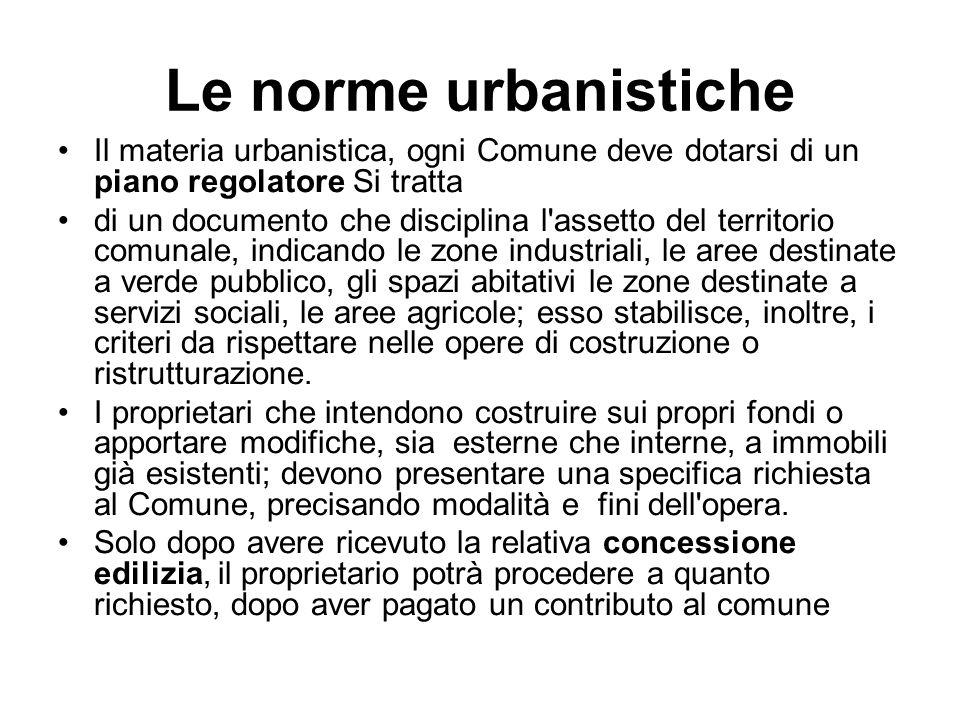 Le norme urbanistiche Il materia urbanistica, ogni Comune deve dotarsi di un piano regolatore Si tratta di un documento che disciplina l'assetto del t