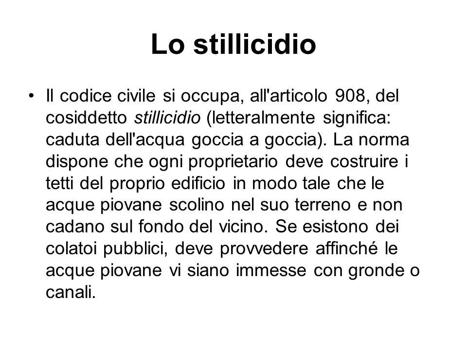 Lo stillicidio Il codice civile si occupa, all'articolo 908, del cosiddetto stillicidio (letteralmente significa: caduta dell'acqua goccia a goccia).