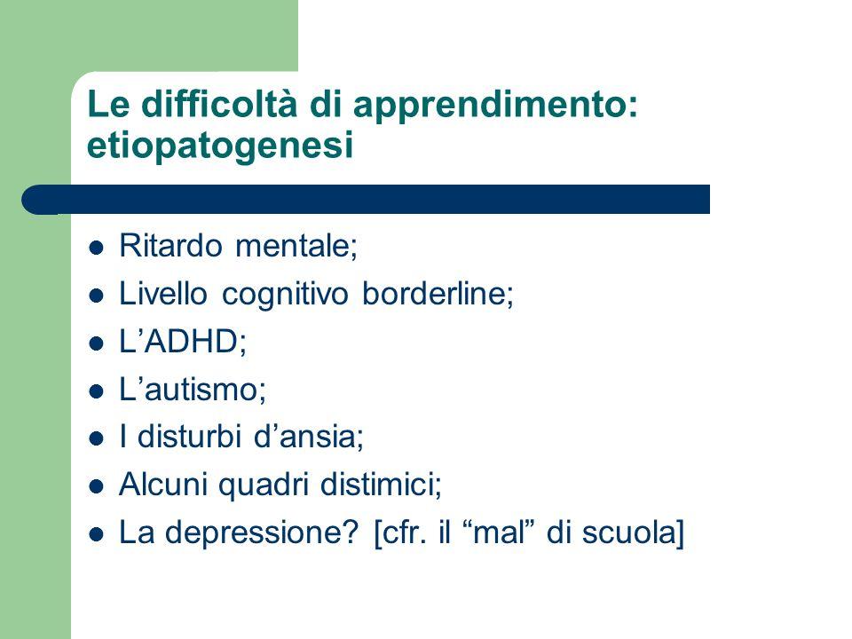 Le difficoltà di apprendimento: etiopatogenesi Ritardo mentale; Livello cognitivo borderline; LADHD; Lautismo; I disturbi dansia; Alcuni quadri distim