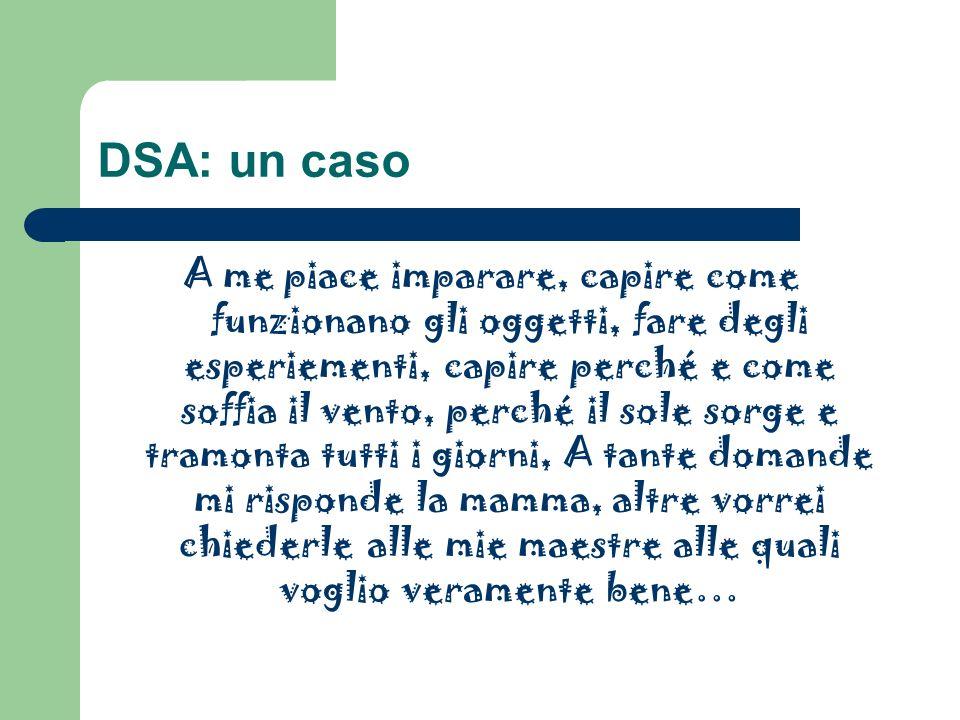 DSA: un caso A me piace imparare, capire come funzionano gli oggetti, fare degli esperiementi, capire perché e come soffia il vento, perché il sole so