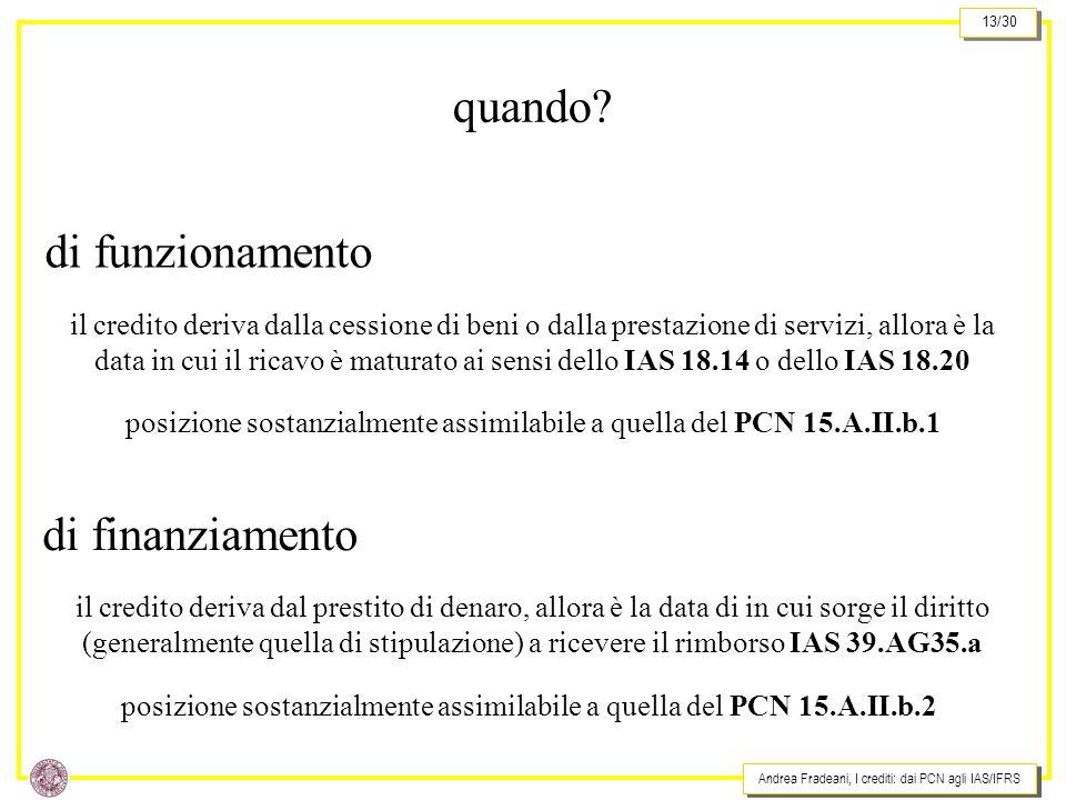 Andrea Fradeani, I crediti: dai PCN agli IAS/IFRS 13/30 quando? di funzionamento il credito deriva dalla cessione di beni o dalla prestazione di servi