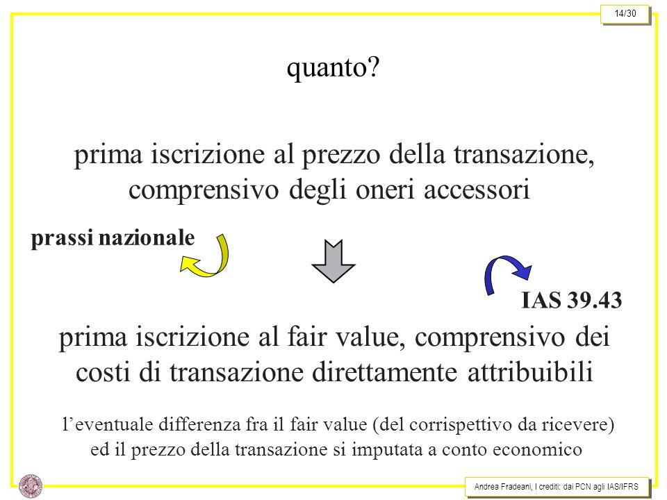 Andrea Fradeani, I crediti: dai PCN agli IAS/IFRS 14/30 prima iscrizione al prezzo della transazione, comprensivo degli oneri accessori prima iscrizione al fair value, comprensivo dei costi di transazione direttamente attribuibili prassi nazionale IAS 39.43 quanto.