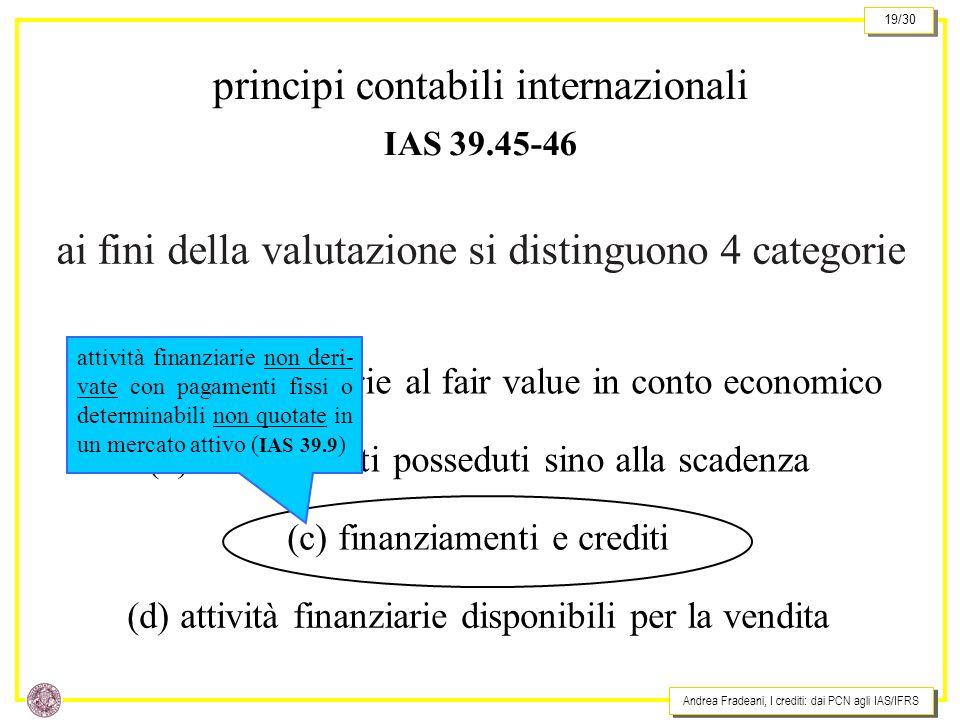 Andrea Fradeani, I crediti: dai PCN agli IAS/IFRS 19/30 ai fini della valutazione si distinguono 4 categorie principi contabili internazionali IAS 39.45-46 (a) attività finanziarie al fair value in conto economico (b) investimenti posseduti sino alla scadenza (c) finanziamenti e crediti (d) attività finanziarie disponibili per la vendita attività finanziarie non deri- vate con pagamenti fissi o determinabili non quotate in un mercato attivo ( IAS 39.9 )