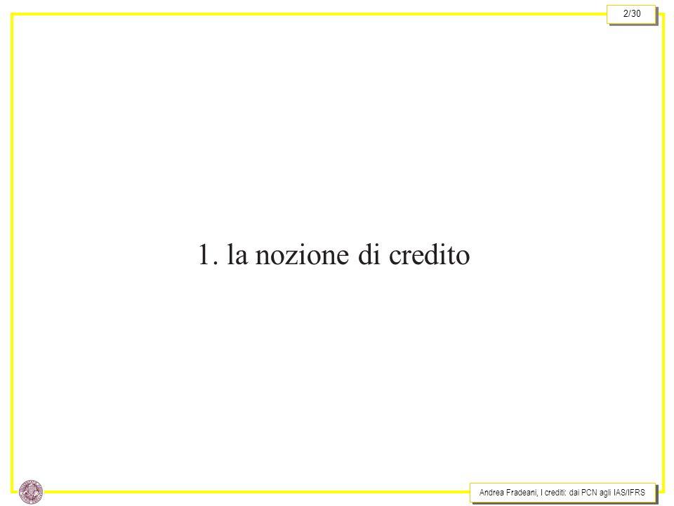 Andrea Fradeani, I crediti: dai PCN agli IAS/IFRS 2/30 1. la nozione di credito