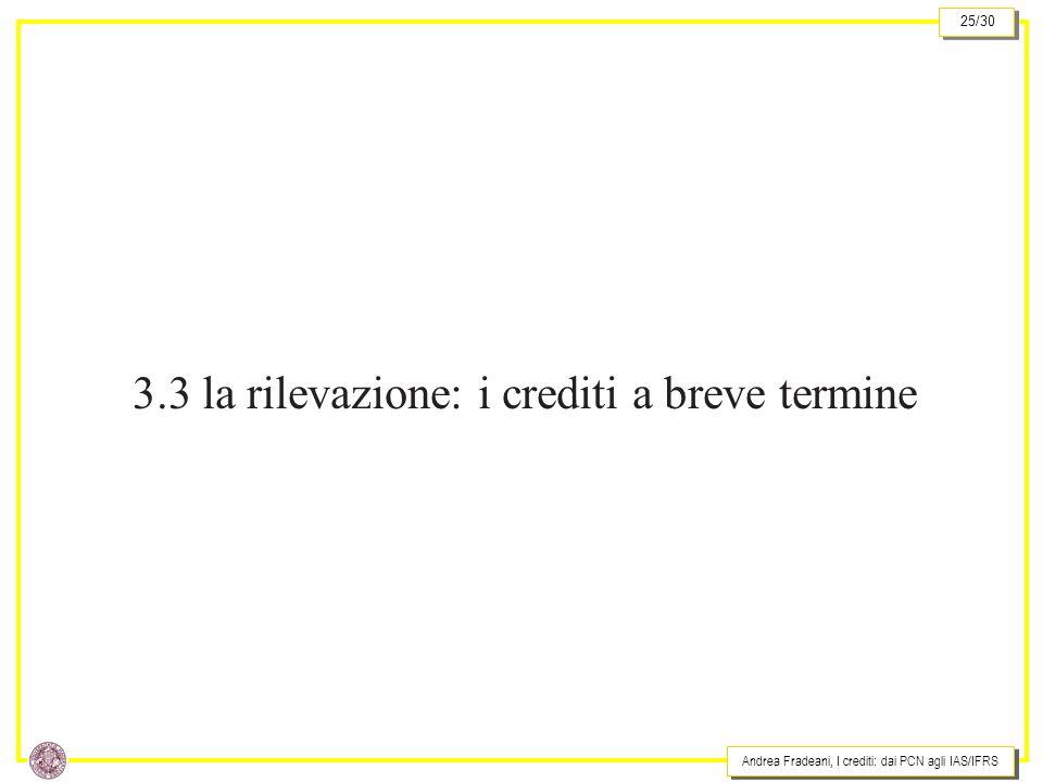 Andrea Fradeani, I crediti: dai PCN agli IAS/IFRS 25/30 3.3 la rilevazione: i crediti a breve termine