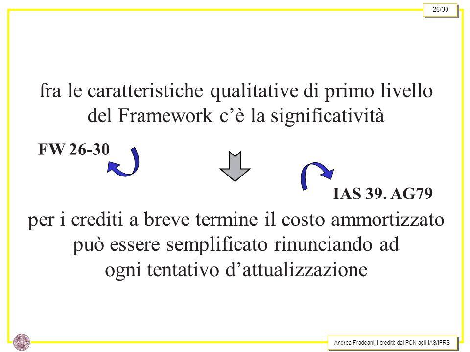 Andrea Fradeani, I crediti: dai PCN agli IAS/IFRS 26/30 fra le caratteristiche qualitative di primo livello del Framework cè la significatività per i crediti a breve termine il costo ammortizzato può essere semplificato rinunciando ad ogni tentativo dattualizzazione FW 26-30 IAS 39.