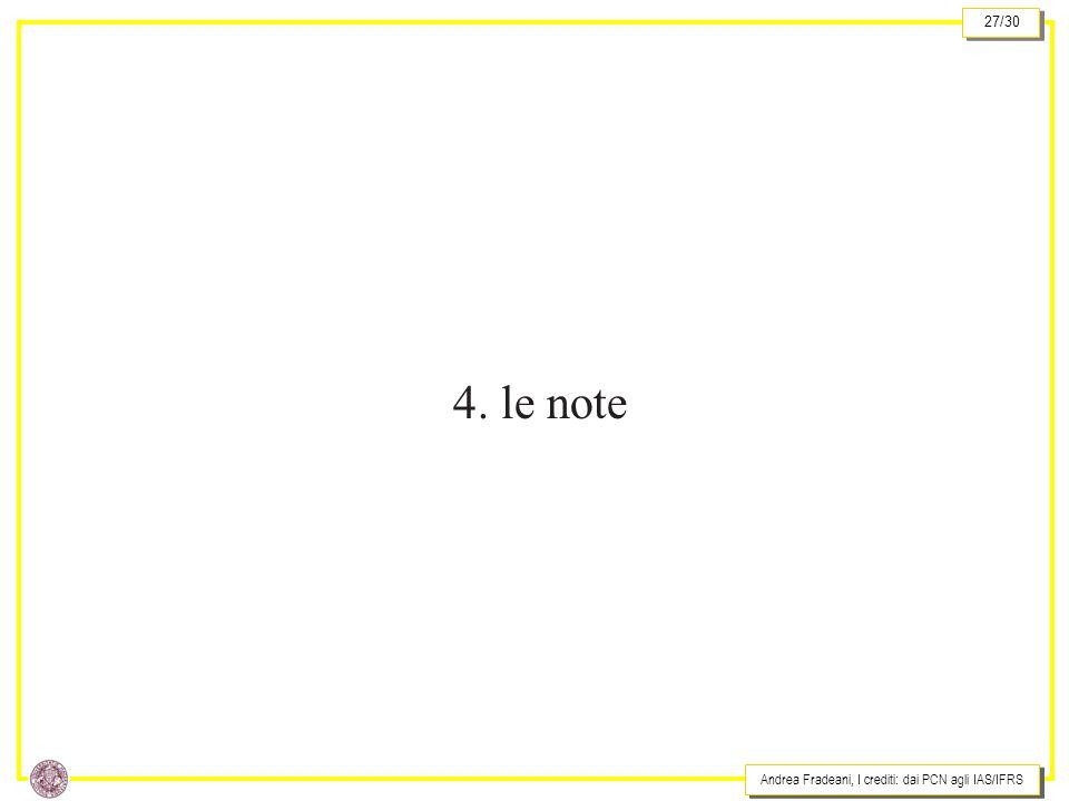 Andrea Fradeani, I crediti: dai PCN agli IAS/IFRS 27/30 4. le note
