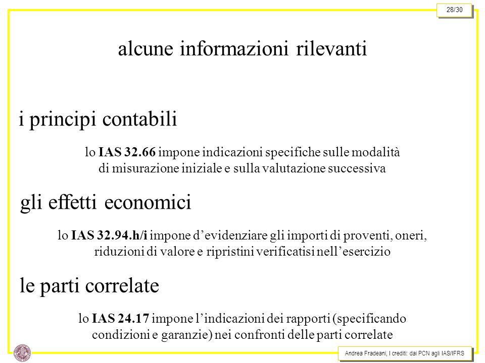 Andrea Fradeani, I crediti: dai PCN agli IAS/IFRS 28/30 alcune informazioni rilevanti i principi contabili lo IAS 32.66 impone indicazioni specifiche