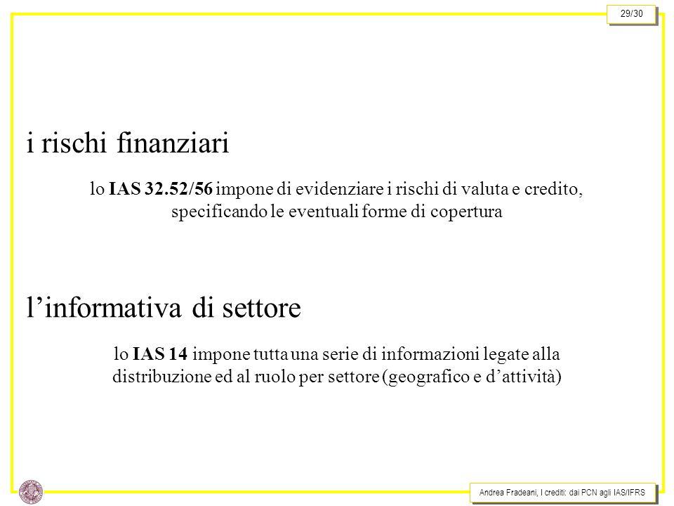 Andrea Fradeani, I crediti: dai PCN agli IAS/IFRS 29/30 i rischi finanziari lo IAS 32.52/56 impone di evidenziare i rischi di valuta e credito, specificando le eventuali forme di copertura linformativa di settore lo IAS 14 impone tutta una serie di informazioni legate alla distribuzione ed al ruolo per settore (geografico e dattività)