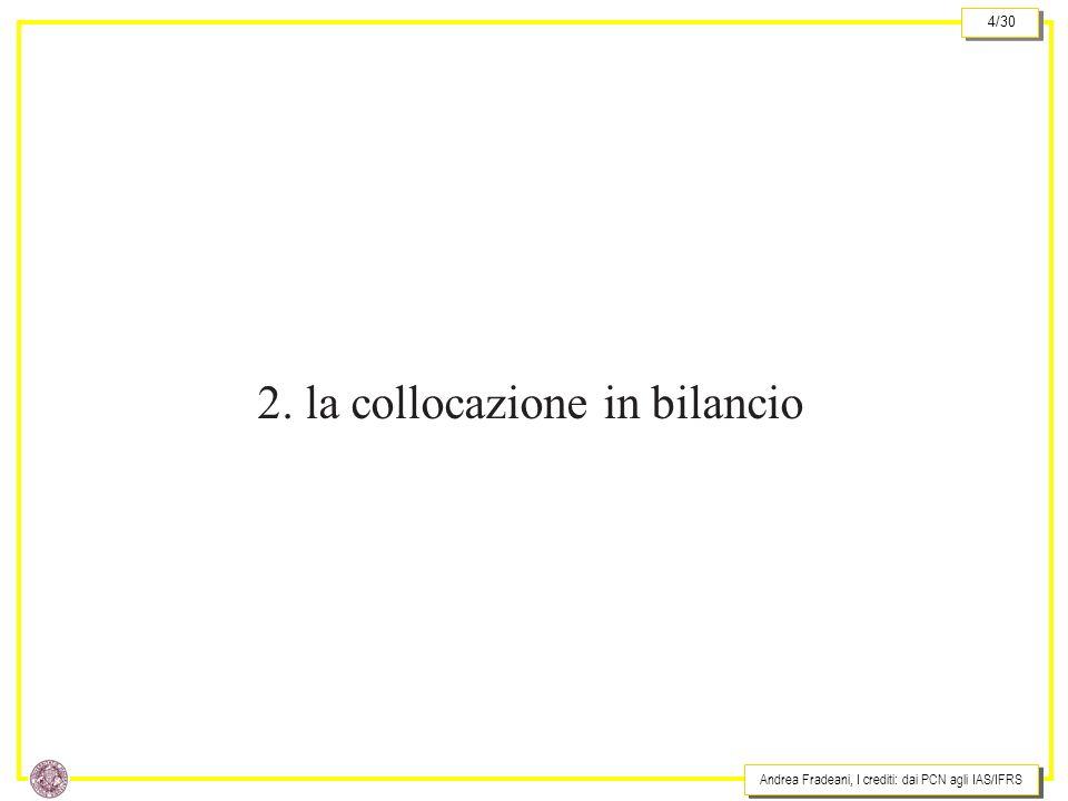 Andrea Fradeani, I crediti: dai PCN agli IAS/IFRS 4/30 2. la collocazione in bilancio