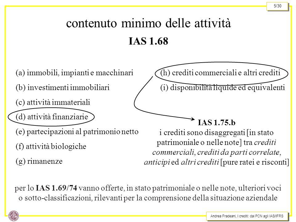 Andrea Fradeani, I crediti: dai PCN agli IAS/IFRS 5/30 contenuto minimo delle attività IAS 1.68 (g) rimanenze (f) attività biologiche (e) partecipazioni al patrimonio netto (d) attività finanziarie (c) attività immateriali (b) investimenti immobiliari (a) immobili, impianti e macchinari (i) disponibilità liquide ed equivalenti (h) crediti commerciali e altri crediti IAS 1.75.b i crediti sono disaggregati [in stato patrimoniale o nelle note] tra crediti commerciali, crediti da parti correlate, anticipi ed altri crediti [pure ratei e risconti] per lo IAS 1.69/74 vanno offerte, in stato patrimoniale o nelle note, ulteriori voci o sotto-classificazioni, rilevanti per la comprensione della situazione aziendale