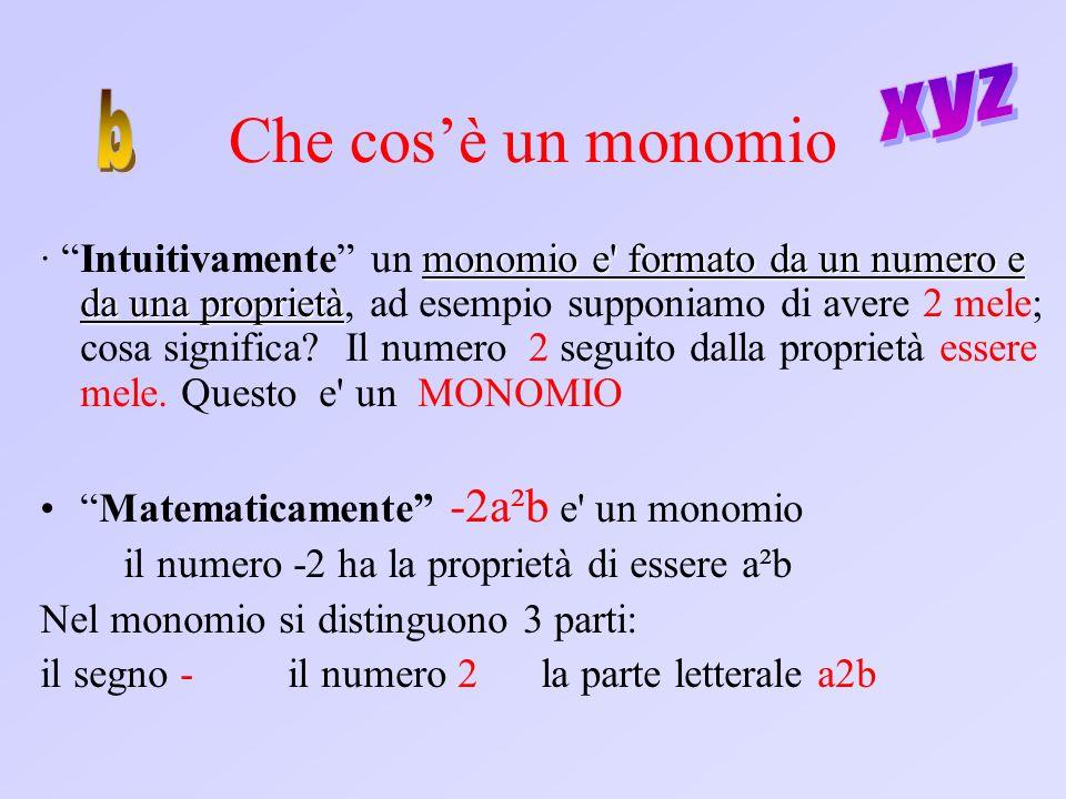 Che cosè un monomio monomio e' formato da un numero e da una proprietà · Intuitivamente un monomio e' formato da un numero e da una proprietà, ad esem