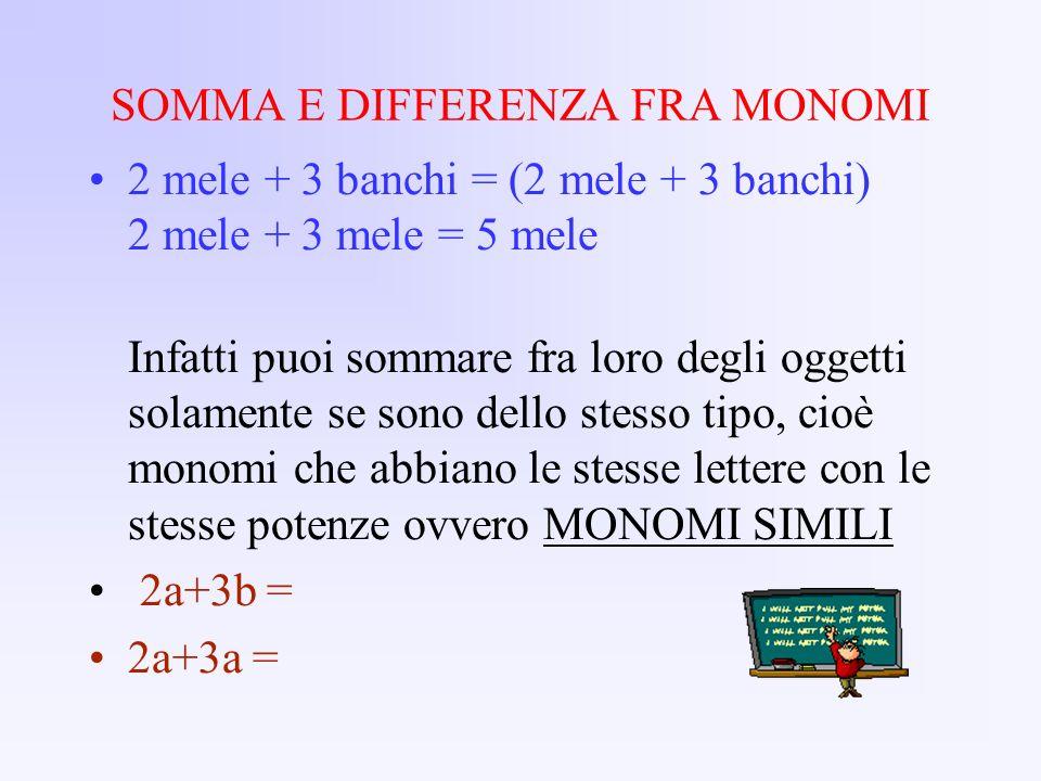 SOMMA E DIFFERENZA FRA MONOMI 2 mele + 3 banchi = (2 mele + 3 banchi) 2 mele + 3 mele = 5 mele Infatti puoi sommare fra loro degli oggetti solamente s
