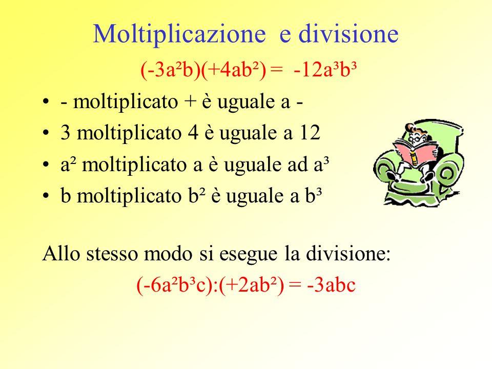 Moltiplicazione e divisione (-3a²b)(+4ab²) = -12a³b³ - moltiplicato + è uguale a - 3 moltiplicato 4 è uguale a 12 a² moltiplicato a è uguale ad a³ b m