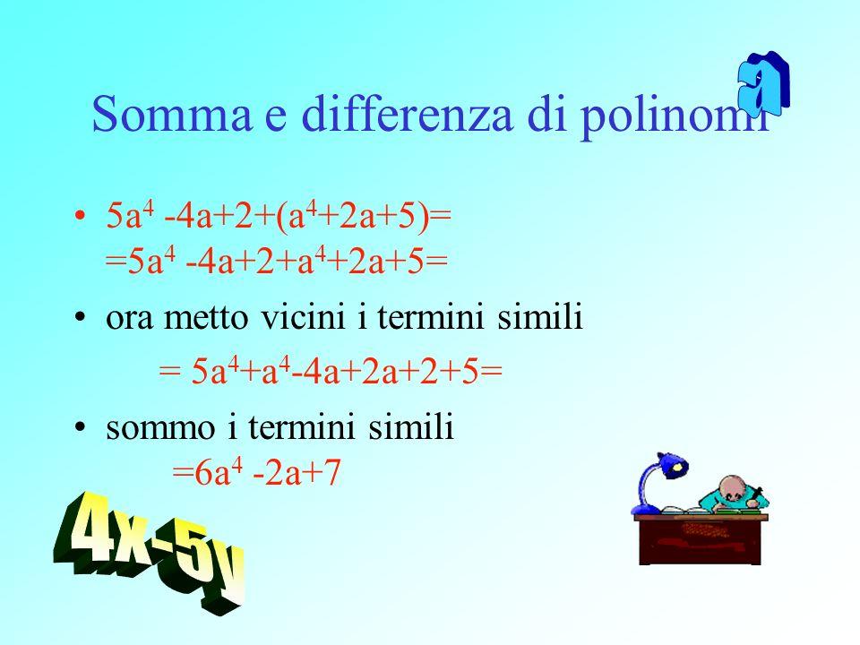 Somma e differenza di polinomi 5a 4 -4a+2+(a 4 +2a+5)= =5a 4 -4a+2+a 4 +2a+5= ora metto vicini i termini simili = 5a 4 +a 4 -4a+2a+2+5= sommo i termin