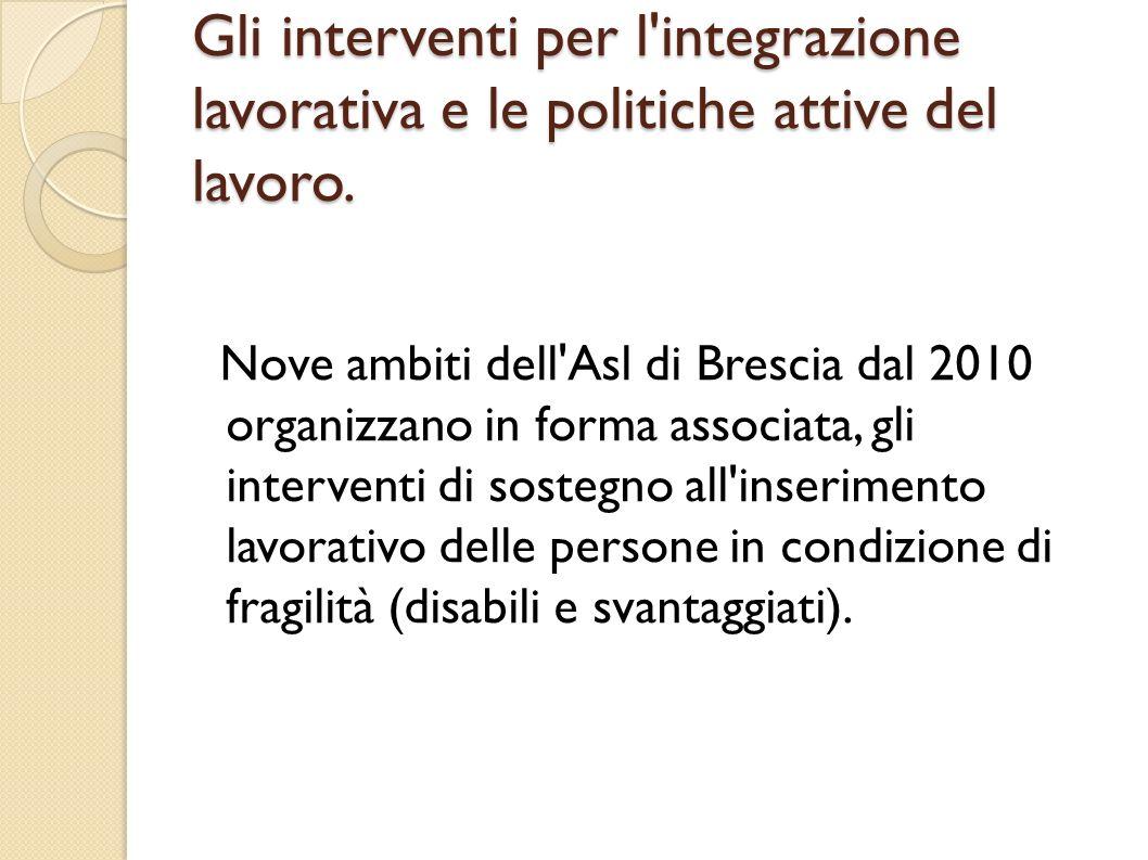 Gli interventi per l'integrazione lavorativa e le politiche attive del lavoro. Nove ambiti dell'Asl di Brescia dal 2010 organizzano in forma associata