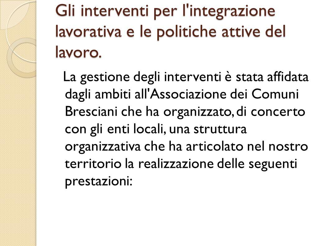 Gli interventi per l'integrazione lavorativa e le politiche attive del lavoro. La gestione degli interventi è stata affidata dagli ambiti all'Associaz