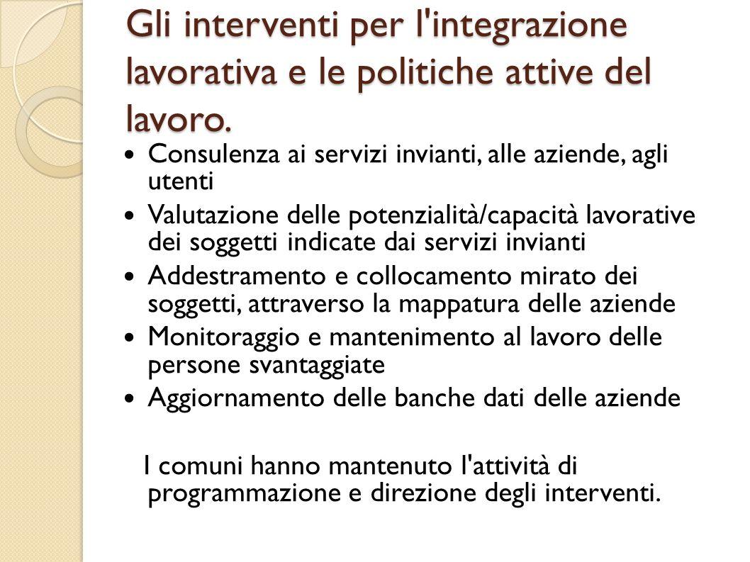 Gli interventi per l'integrazione lavorativa e le politiche attive del lavoro. Consulenza ai servizi invianti, alle aziende, agli utenti Valutazione d