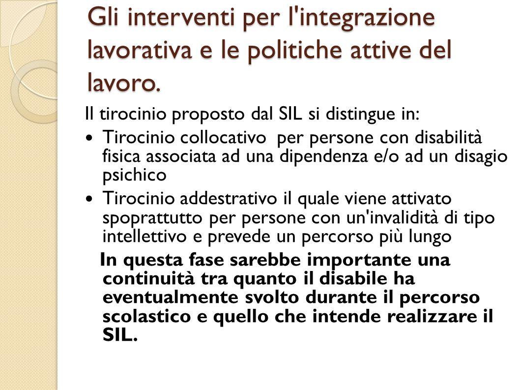 Gli interventi per l'integrazione lavorativa e le politiche attive del lavoro. Il tirocinio proposto dal SIL si distingue in: Tirocinio collocativo pe