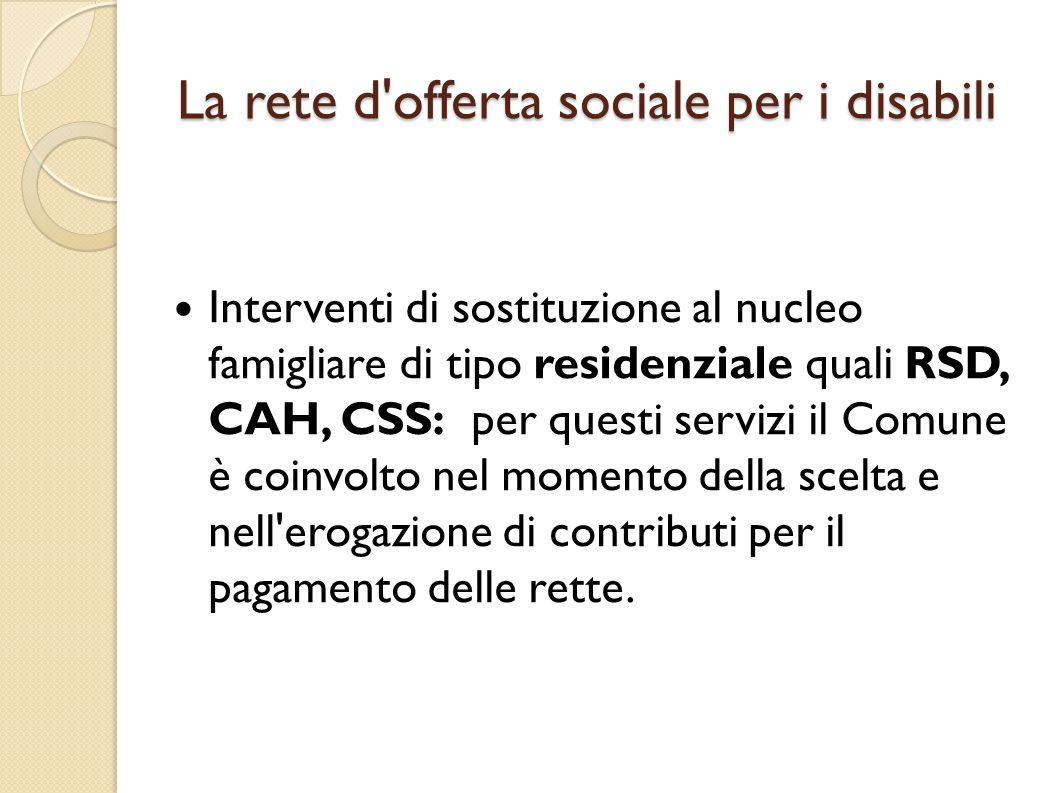 La rete d'offerta sociale per i disabili Interventi di sostituzione al nucleo famigliare di tipo residenziale quali RSD, CAH, CSS: per questi servizi