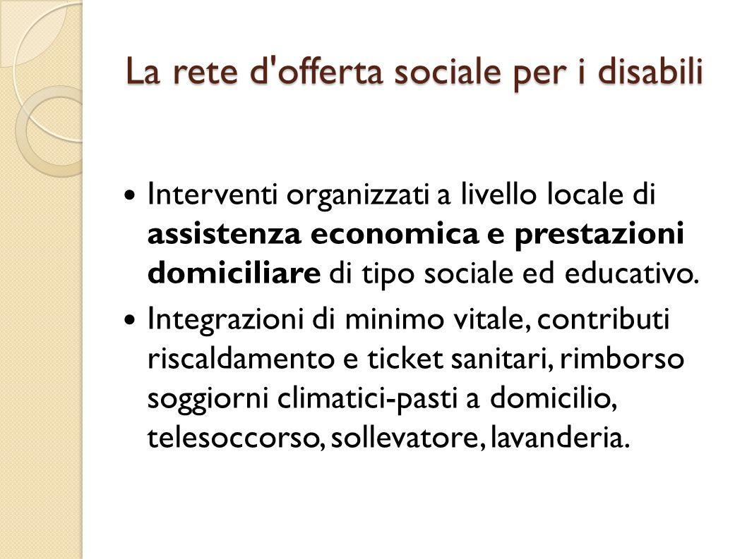La rete d'offerta sociale per i disabili Interventi organizzati a livello locale di assistenza economica e prestazioni domiciliare di tipo sociale ed