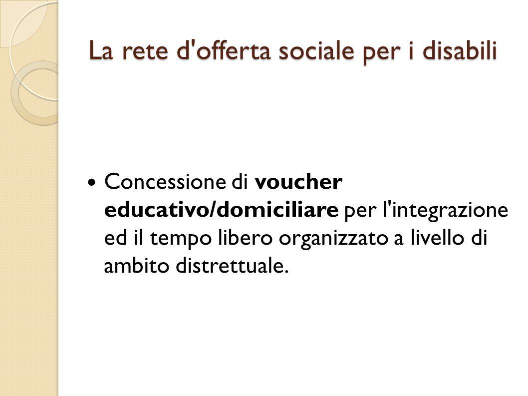 La rete d'offerta sociale per i disabili Concessione di voucher educativo/domiciliare per l'integrazione ed il tempo libero organizzato a livello di a