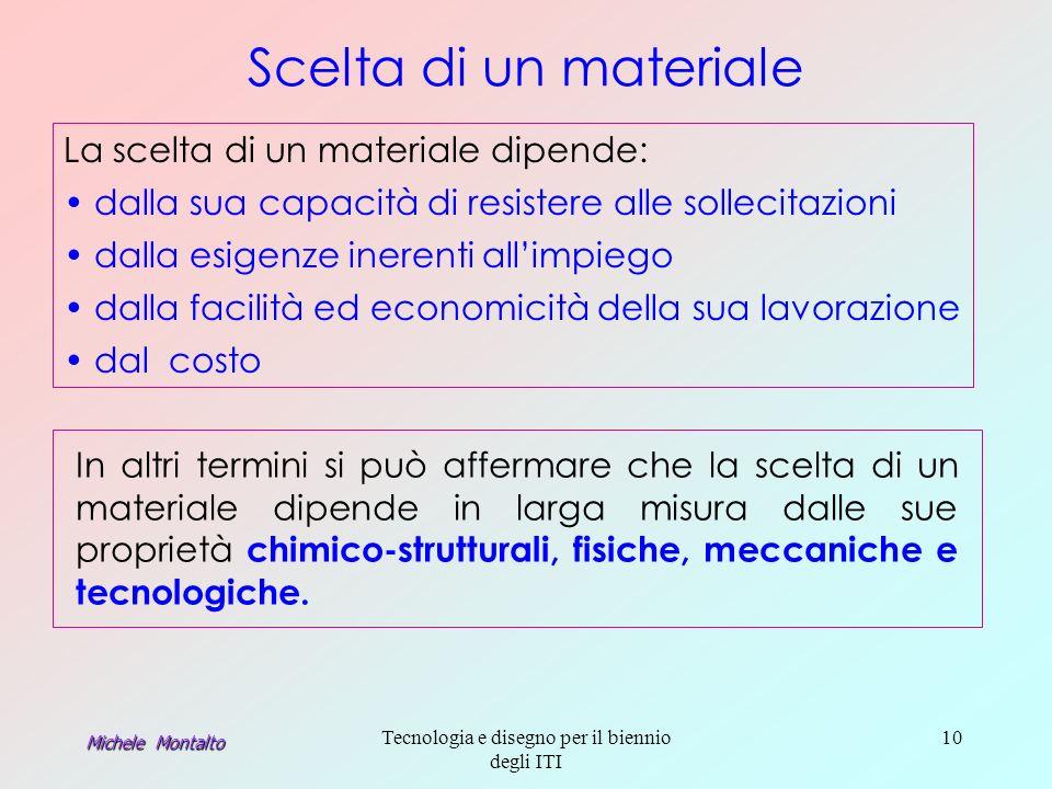 Michele Montalto Tecnologia e disegno per il biennio degli ITI 10 Scelta di un materiale In altri termini si può affermare che la scelta di un materiale dipende in larga misura dalle sue proprietà chimico-strutturali, fisiche, meccaniche e tecnologiche.