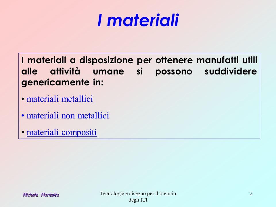 Michele Montalto Tecnologia e disegno per il biennio degli ITI 2 I materiali I materiali a disposizione per ottenere manufatti utili alle attività umane si possono suddividere genericamente in: materiali metallici materiali non metallici materiali compositi