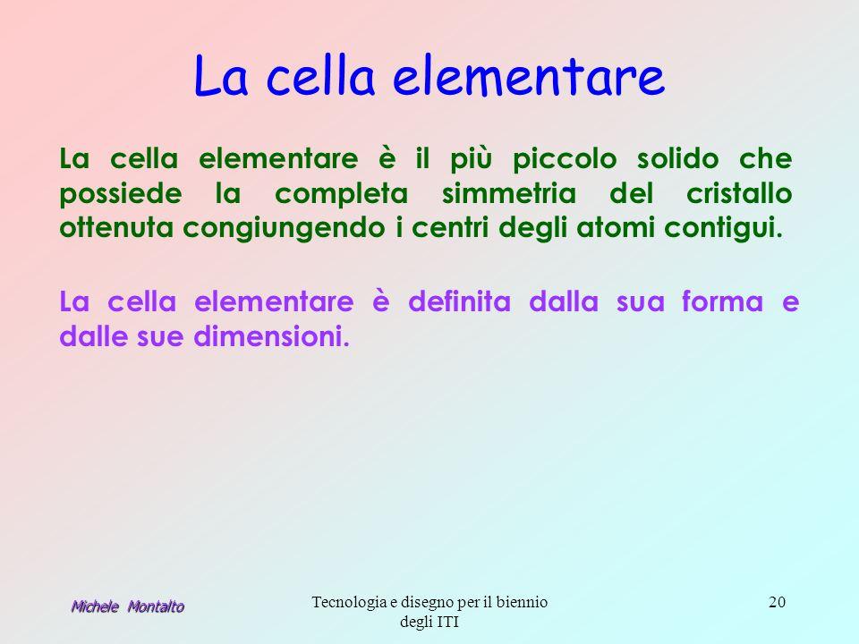 Michele Montalto Tecnologia e disegno per il biennio degli ITI 20 La cella elementare La cella elementare è il più piccolo solido che possiede la completa simmetria del cristallo ottenuta congiungendo i centri degli atomi contigui.