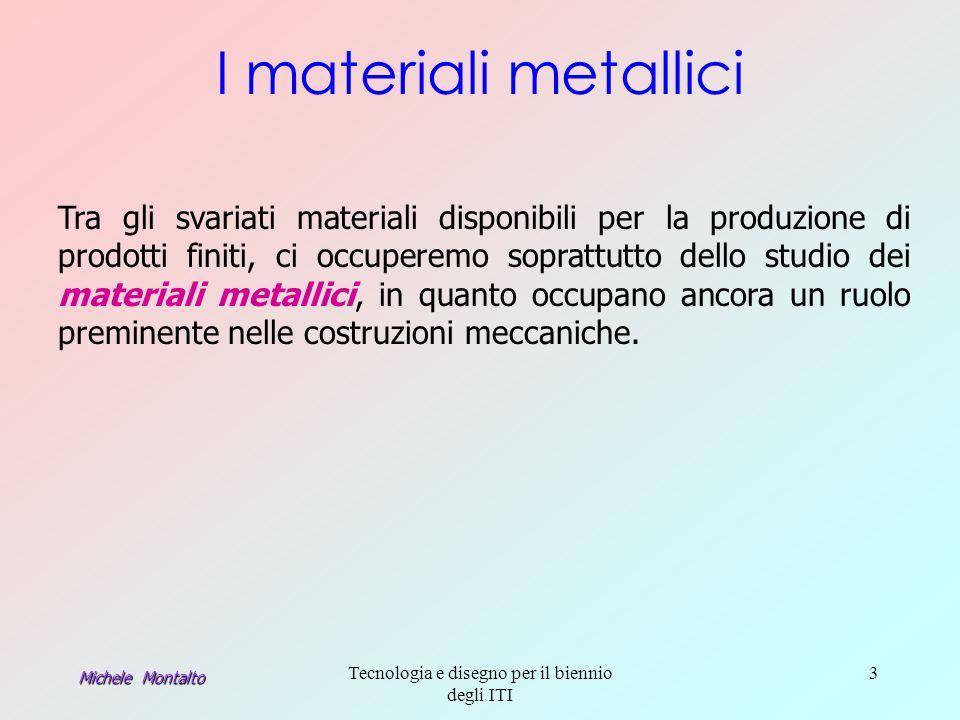 Michele Montalto Tecnologia e disegno per il biennio degli ITI 3 I materiali metallici Tra gli svariati materiali disponibili per la produzione di prodotti finiti, ci occuperemo soprattutto dello studio dei materiali metallici, in quanto occupano ancora un ruolo preminente nelle costruzioni meccaniche.