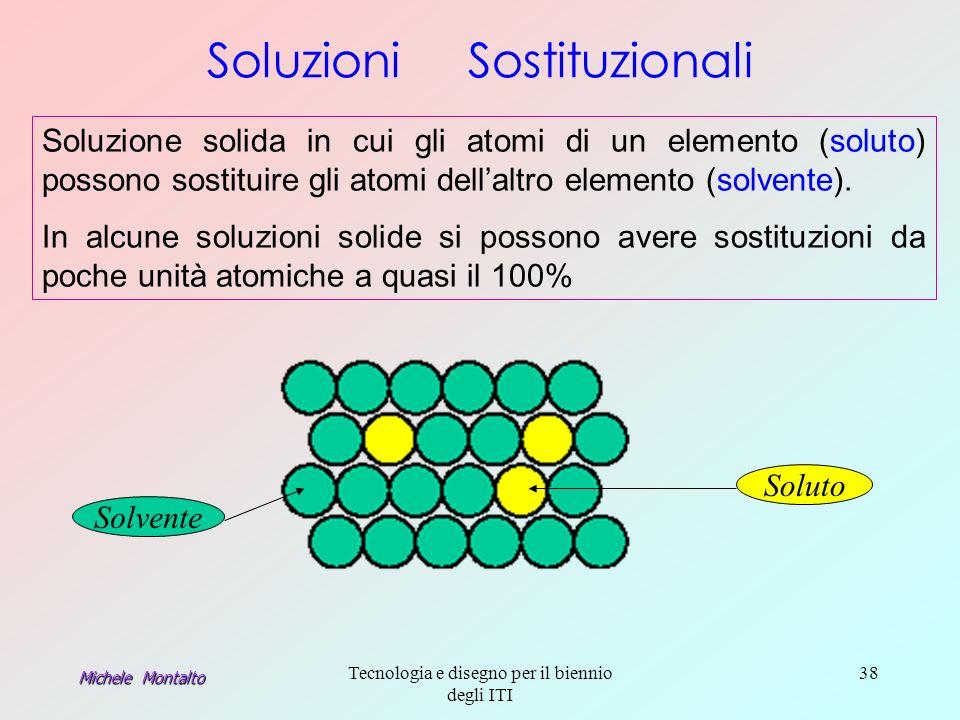 Michele Montalto Tecnologia e disegno per il biennio degli ITI 38 Soluzione solida in cui gli atomi di un elemento (soluto) possono sostituire gli atomi dellaltro elemento (solvente).