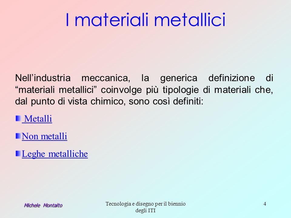 Michele Montalto Tecnologia e disegno per il biennio degli ITI 4 Nellindustria meccanica, la generica definizione di materiali metallici coinvolge più tipologie di materiali che, dal punto di vista chimico, sono così definiti: Metalli Non metalli Leghe metalliche I materiali metallici