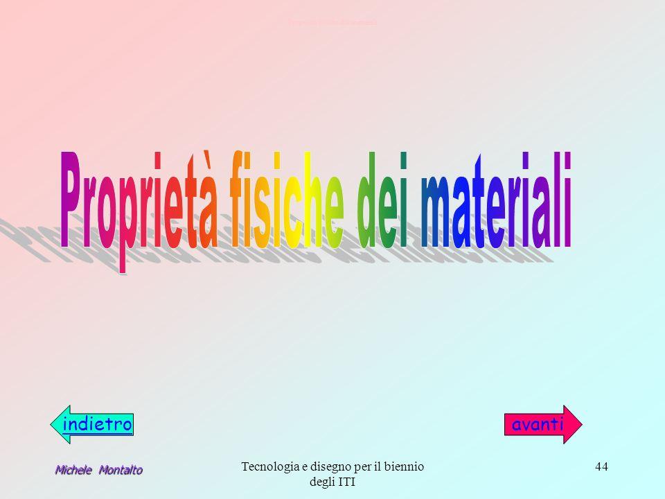 Michele Montalto Tecnologia e disegno per il biennio degli ITI 44 Proprietà fisiche dei materiali avantiindietro