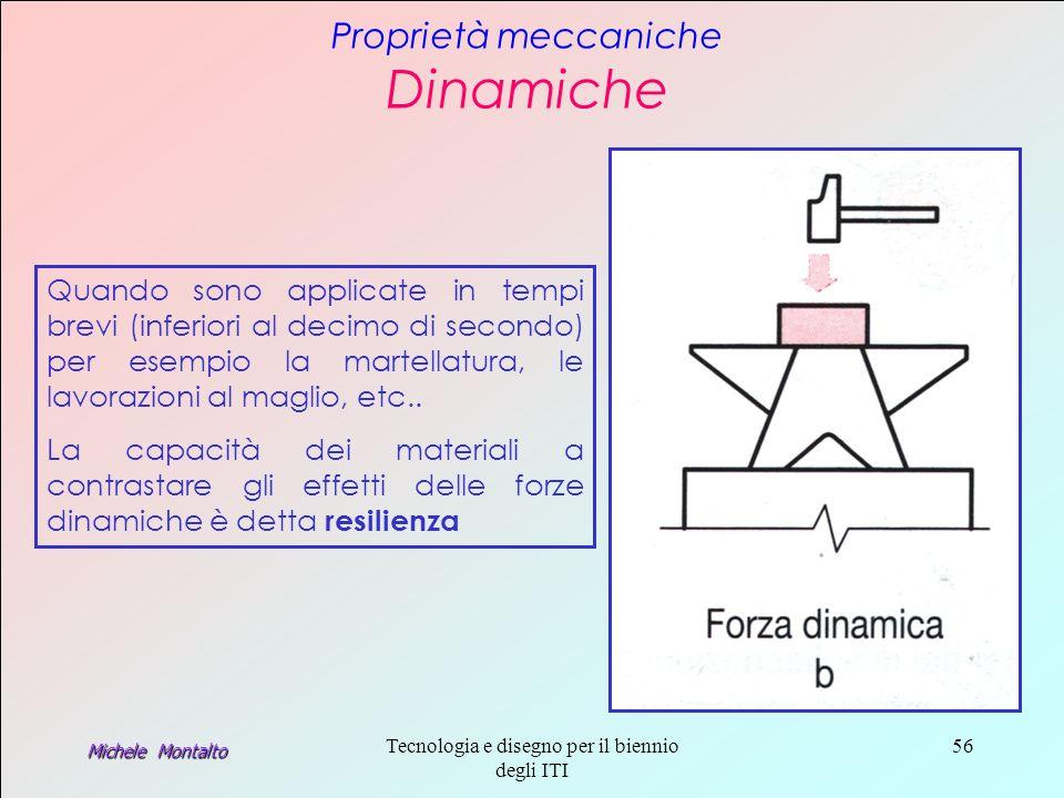 Michele Montalto Tecnologia e disegno per il biennio degli ITI 56 Proprietà meccaniche Dinamiche Quando sono applicate in tempi brevi (inferiori al decimo di secondo) per esempio la martellatura, le lavorazioni al maglio, etc..