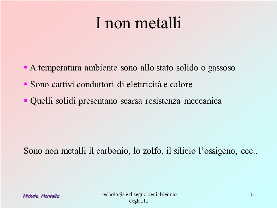 Michele Montalto Tecnologia e disegno per il biennio degli ITI 6 Sono non metalli il carbonio, lo zolfo, il silicio lossigeno, ecc..