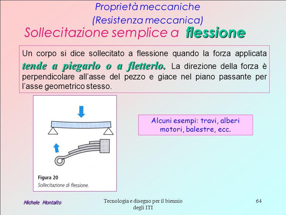 Michele Montalto Tecnologia e disegno per il biennio degli ITI 64 Proprietà meccaniche (Resistenza meccanica) Sollecitazione semplice a flessione tende a piegarlo o a fletterlo.
