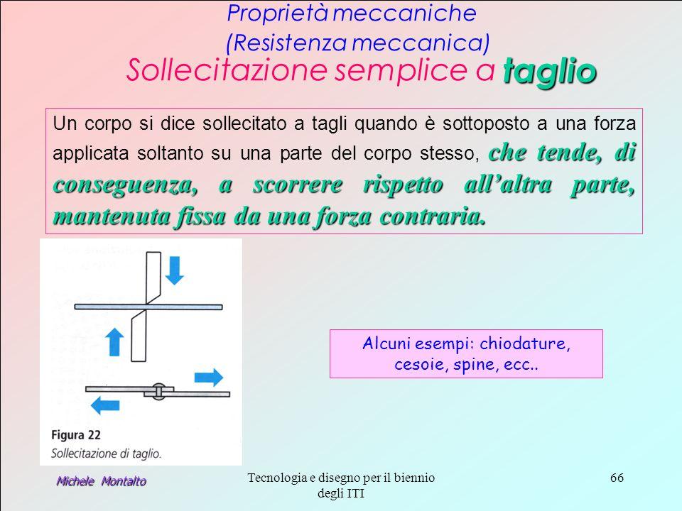 Michele Montalto Tecnologia e disegno per il biennio degli ITI 66 Proprietà meccaniche (Resistenza meccanica) Sollecitazione semplice a taglio che tende, di conseguenza, a scorrere rispetto allaltra parte, mantenuta fissa da una forza contraria.