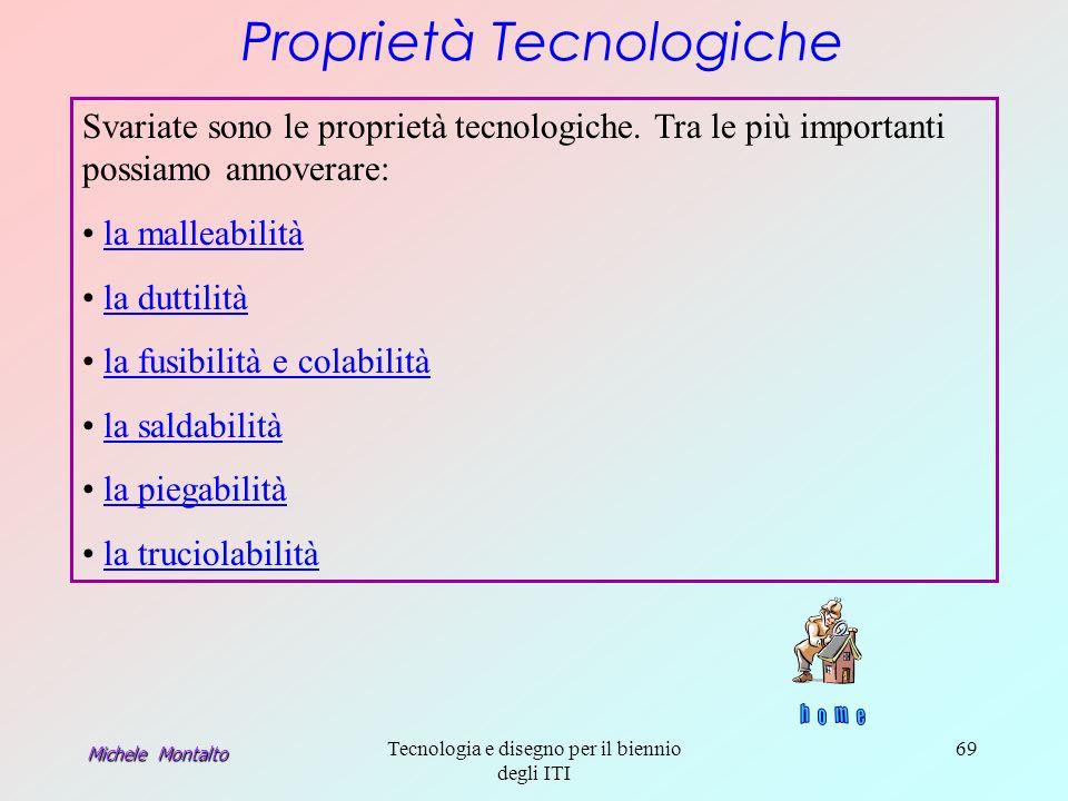 Michele Montalto Tecnologia e disegno per il biennio degli ITI 69 Proprietà Tecnologiche Svariate sono le proprietà tecnologiche.